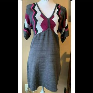 Venus sz s purple gray metallic sweater dress